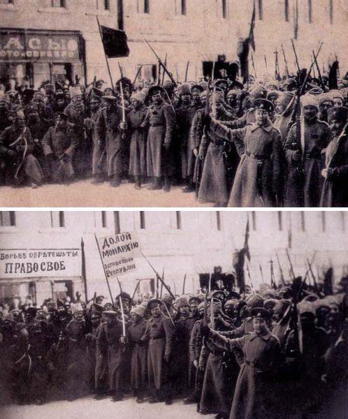 На верхнем фото: солдаты, вышедшие на демонстрацию в первые дни февральской революции. Литейный проспект Петрограда. На заднем плане видна вывеска ювелирного магазина «Часы. Золото и серебро». Что написано на флаге, прочесть невозможно. На илл. снизу: появившийся в том же году вариант этой же фотографии, но вместо вывески ювелирного магазина плакат: «В борьбе обретешь ты право свое», а флаг стал белым, и на нем четко видна надпись: «Долой монархию! Да здравствует республика!». Как видим, фальсификация истории февральских событий началась уже в 1917 году