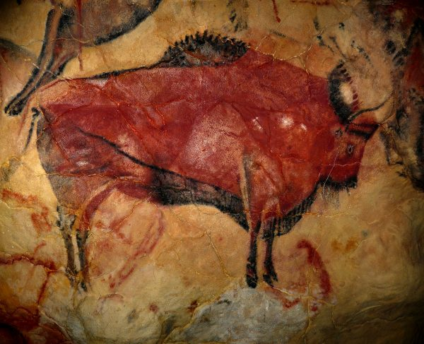 Изображение бизона в испанской пещере Альтамира, палеолит, приблизительный возраст - 15-35 тыс. лет.