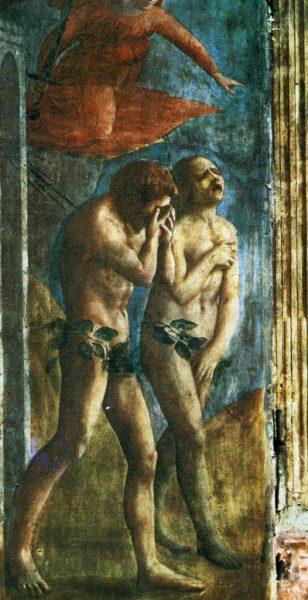 Адам и Ева. Изгнание из Рая. Фреска