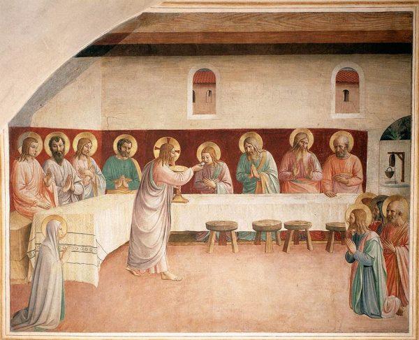 Тайная вечеря. Фреска в Сан Марко, Флоренция. Художник Фра Анджелико