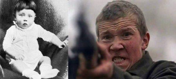 """Портрет Адольфа Гитлера и кадр из финальной сцены фильма """"Иди и смотри"""""""