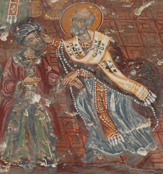 Святой Николай заушает Ария. Фреска