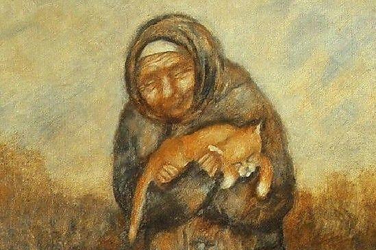 Бабушка читала псалтырь, а кот не отходил от нее