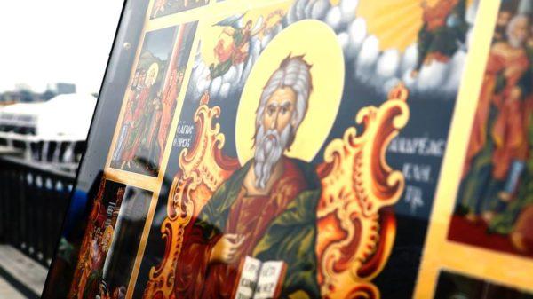 В Киев по Днепру прибыла чудотворная икона апостола Андрея Первозванного