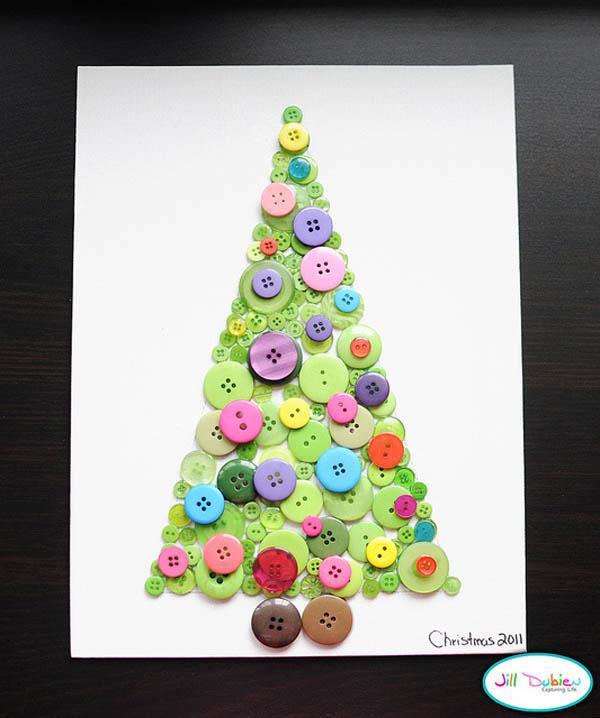 Новогодние поделки своими руками - елка из пуговиц