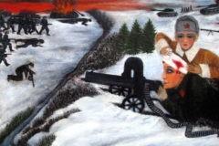 «Солдат строчит из пулемета, а медсестра перевязывает ему голову». Тема войны в наивном искусстве